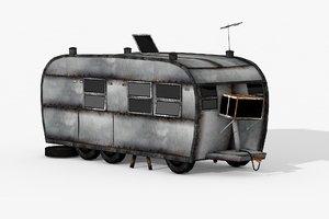 3D rust caravan trailer