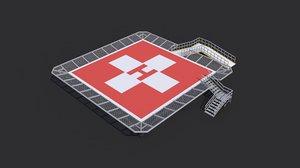 - 3 helipad rooftop 3D model