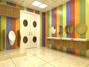 primary school bathroom fixtures 3D model