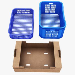 cardboard plastic crate 3D model