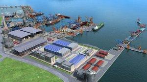 shipyard harbor 3D