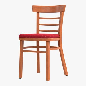 3D realistic wood dining chair model
