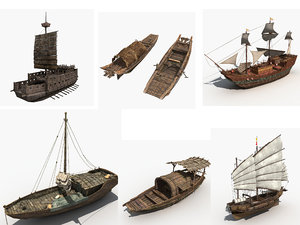 ships chinese ancient 3D