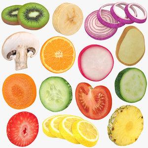 3D vegetable fruit slice model