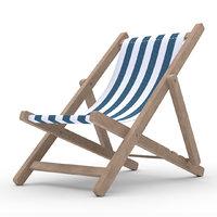 Beach chair Deck chair low poly blue