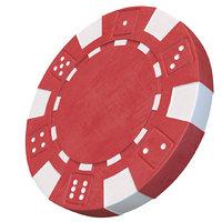 Casino chip 3D model red poker chip