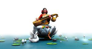 3D god saraswati