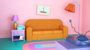 simpsons couch scene tv 3D model