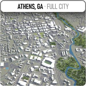 3D model athens georgia surrounding -