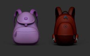 kit 02 backpacks boy 3D model