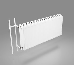 wall-mounted heating radiator hot water 3D model
