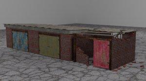 3D damaged ruined building model