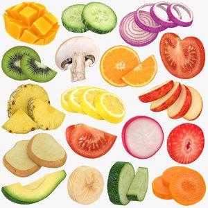 3D fruit slices