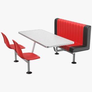 3D real restaurant table model