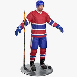 3D pbr hockey player 3