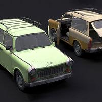 Trabant 601 Kombi 1965 Low-poly 3D model