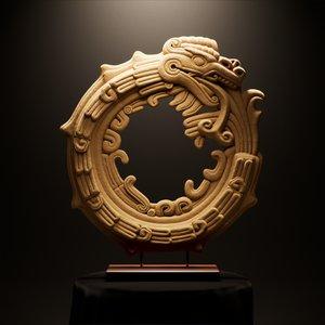 3D model mayan ouroboros sandstone sculpture