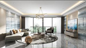 3D living room render v-ray