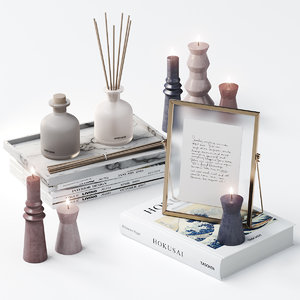 3D model decorative set candles book
