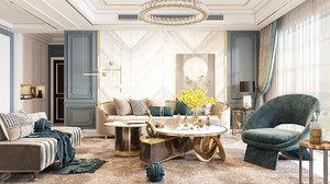 3D bedroom modern render