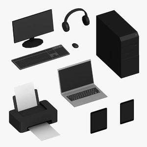3D electronics computer laptop model