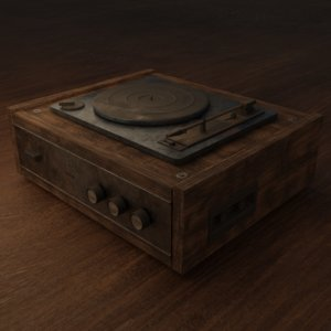 vinyl player battered 3D model