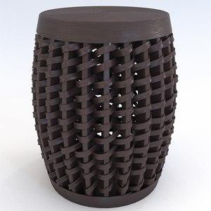 woven sienna stool cyan 3D