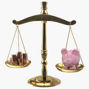 scales piggy bank coins model