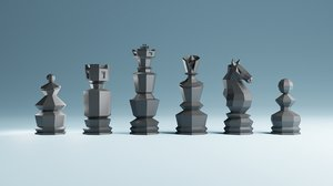 low-poly chess figures board model