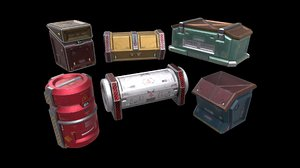 6 crates containers boxes 3D model