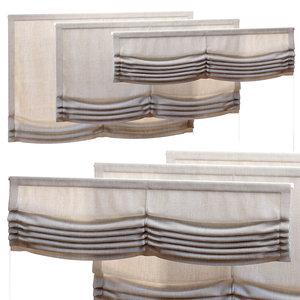 3D double roman curtains 1500 model