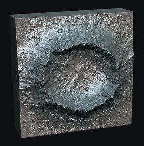 3D lunar monolith crater