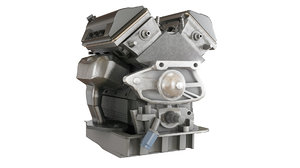 3D v6 car engine