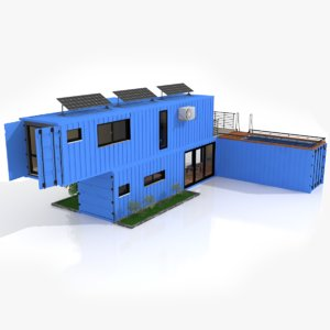 3D model house swimming pool shipping containers