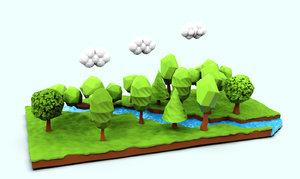 forest river scene 3D