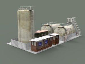 3D desert oil silo petrol pump