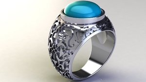 3D turquoise silver ring