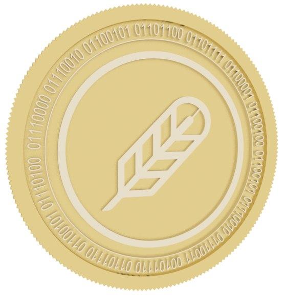 3D po et gold coin model