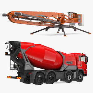 mixer truck concrete boom 3D model