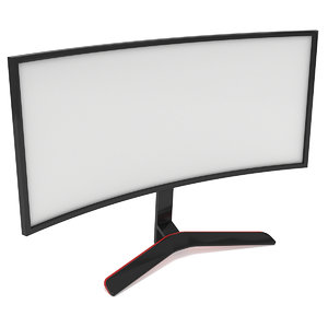 3D black curved lcd tv
