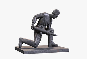 bronze sculpture artilleryman 3D model