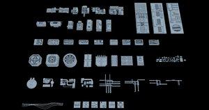 3D sci-fi greeble kitbash model