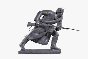 bronze sculpture infantryman 3D