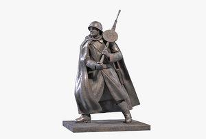 bronze sculpture machine gunner 3D model
