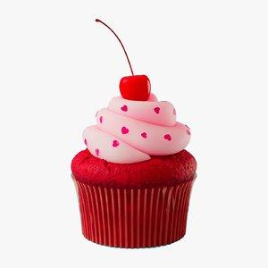 red velvet cupcake food 3D model