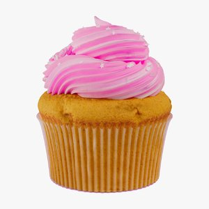 pink cupcake food dessert 3D