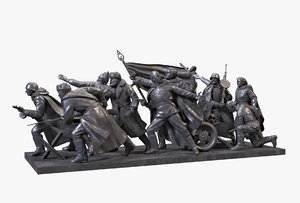 bronze composition war sculptures 3D model