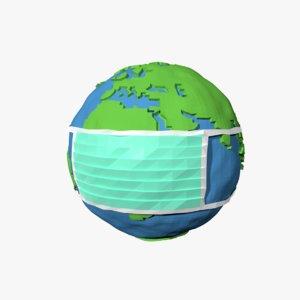 3D cartoon planet earth mask