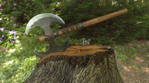 3D two-handed battle axe pbr