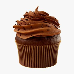 chocolate cupcake food dessert 3D model